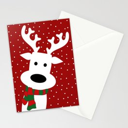 Reindeer in a snowy day (red) Stationery Cards