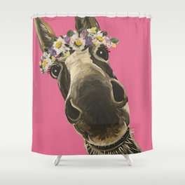 Pink Donkey Art, Flower Crown Donkey Art Shower Curtain