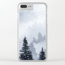 Misty Forest Watercolor Clear iPhone Case