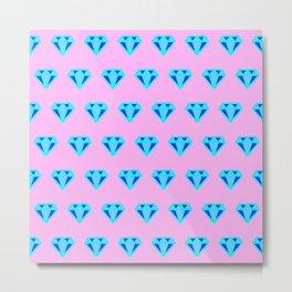 Blue Diamonds on Pink Metal Print