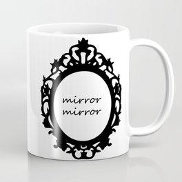 Vanity mirror frame floral black white fashion illustration Coffee Mug