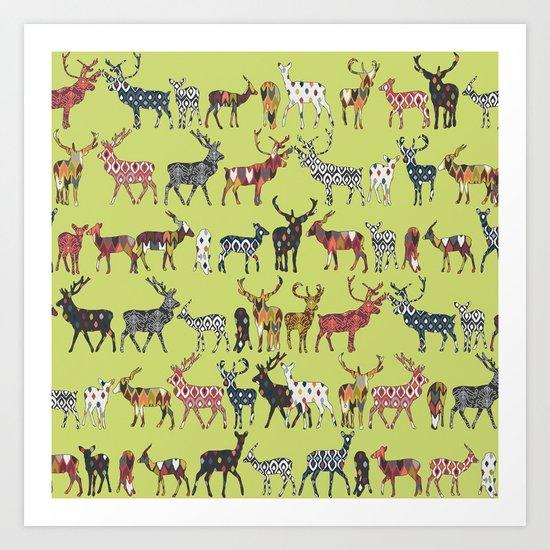 pistachio spice deer Art Print