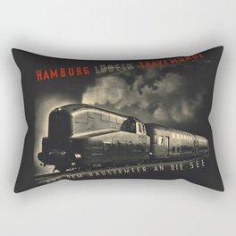 Old Black german train poster Rectangular Pillow