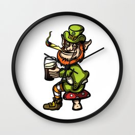 Wasted Leprechaun Wall Clock