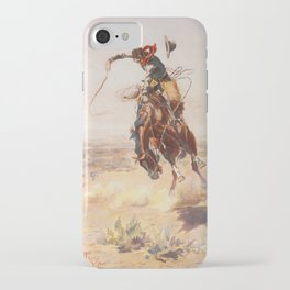 A Bad Hoss by Charles Marion Russell (c 1904) iPhone Case