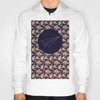 plane Hoodies featuring FLORAL PLANE by MGNFQ