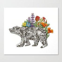 Grizzly Flora Canvas Print