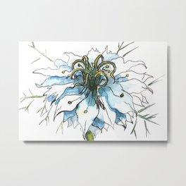Nigella watercolor beautiful flower, nature Metal Print