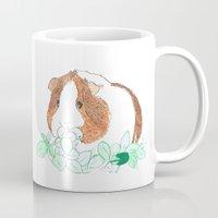 guinea pig Mugs featuring Guinea Pig Clover by Elena O'Neill