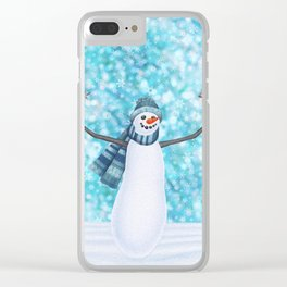 snowman and tufted titmouse flock Clear iPhone Case