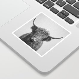 Highland Cow - Black & White Sticker