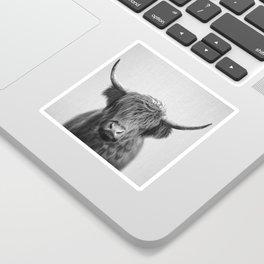 Highland Cow - Black & White Sticker