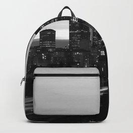Seattle Skyline Sunset City - Black and White Backpack