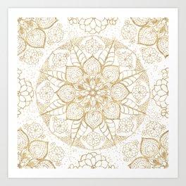 Stylish boho hand drawn golden mandala Art Print