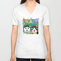 3d V-neck T-shirts featuring 3D by Tummeow