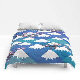 Spring Nature background with Japanese cherry blossoms, sakura pink flowers landscape. blue mountain Comforters