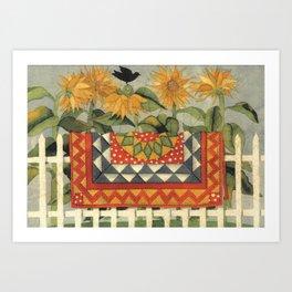 Sunflower Quilt Art Print