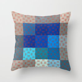 BLUE AND BROWN TONES - BLOCKS AND WEAVE PATTERN Throw Pillow