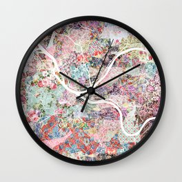 Pittsburgh map flowers Wall Clock