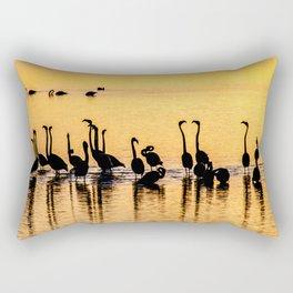 Silhouette of Pink Flamingos Rectangular Pillow