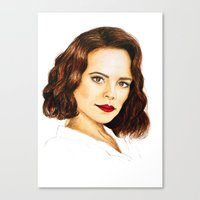 agent carter Canvas Prints featuring Agent Carter by Olivia Nicholls-Bates