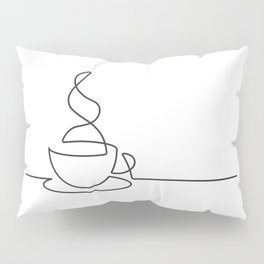 Single Line Coffee Cup Illustration Pillow Sham