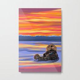 Otter Snack Metal Print