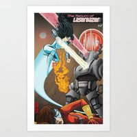 superheros Art Prints featuring SuperHeros SF by Timo Hanley