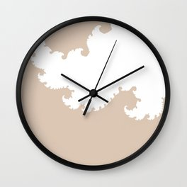 Beige and White Fractal Wall Clock