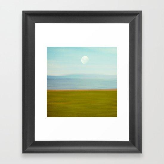 Moon on Beach Framed Art Print
