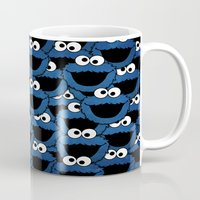 cookie monster Mugs featuring Cookie Monster  by aldarwish