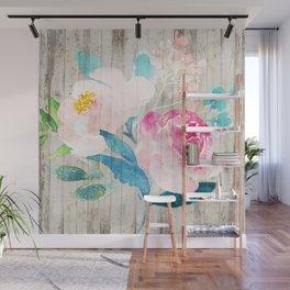 Custom Boho Watercolor Wood Pattern Wall Mural