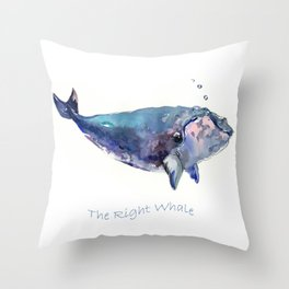 Rigth Whale artwork Throw Pillow
