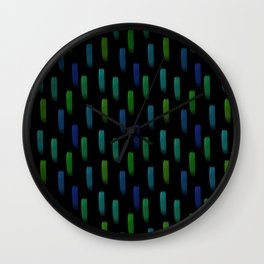 Neon Blue and Green Pattern Wall Clock