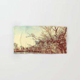 Hello Spring! (White Cherry Blossom by the Lake) Hand & Bath Towel