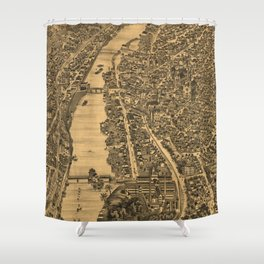 Vintage Pictorial Map of Elgin Illinois (1880) Shower Curtain