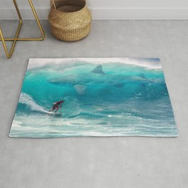 Surfing with a Giant Shark Rug