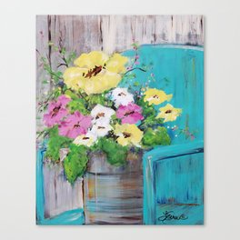 Spring Floral on Vintage Lawn Chair Canvas Print