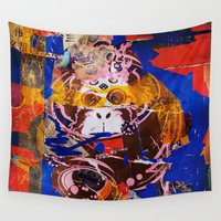 monkey Wall Tapestries featuring monkey by echo3005