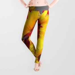 YELLOW SUNFLOWERS RED CARDINAL GREY  ART Leggings