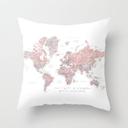 Detailed world map in dusty pink and grey, once a year.... Throw Pillow