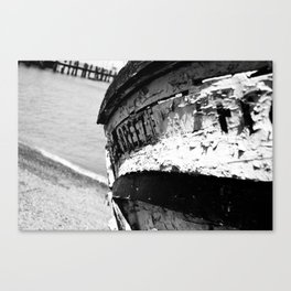 Shrimp Boat II Black & White Canvas Print