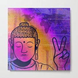 Buddha World Peace Metal Print