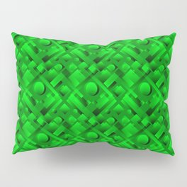 Volumetric design with interlaced circles and green rectangles of stripes. Pillow Sham