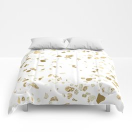 Metallic Gold Terrazzo Sparkle Comforters