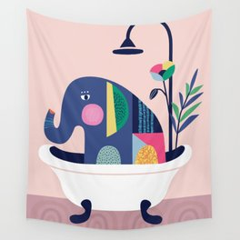 Elephant in the tub Wall Tapestry