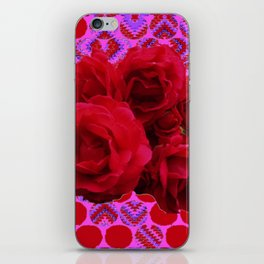 CLUSTER OF RED ROSES ON  RED-VIOLET ABSTRACT iPhone Skin