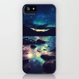 Magical Mountain Lake : Deep Pastels Teal Mauve iPhone Case