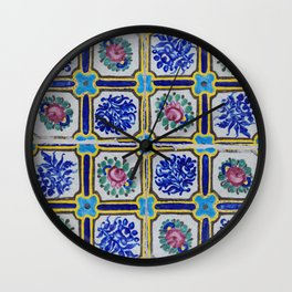 Floral Blue Variety tiles Wall Clock
