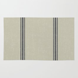 Grey Stripes on Linen color background French Grainsack Distressed Country Farmhouse Rug